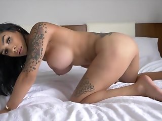 wild, solo, tranny, jerking, bed,