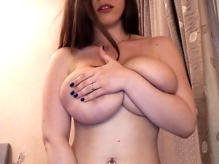 busty, slim, nerdy, girl, plays, boobs