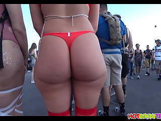 red, ass, bikini, blonde, raver, girl