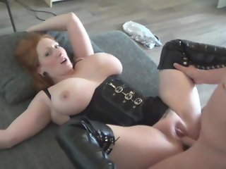 redhaired, boobed, milf, fucked, leather, boots