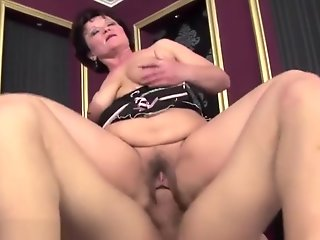 mature, hairy, gets, ass, fucked, creampie
