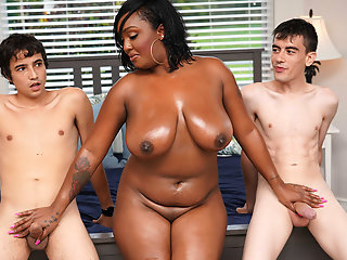 mom, ebony, having, fun, stepson, friend